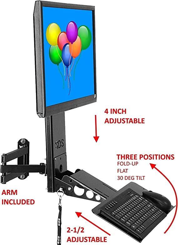 SDS iMount 4.0 Adjustable VESA Monitor & Keyboard Wall Mount System with Tilt & Fold-up