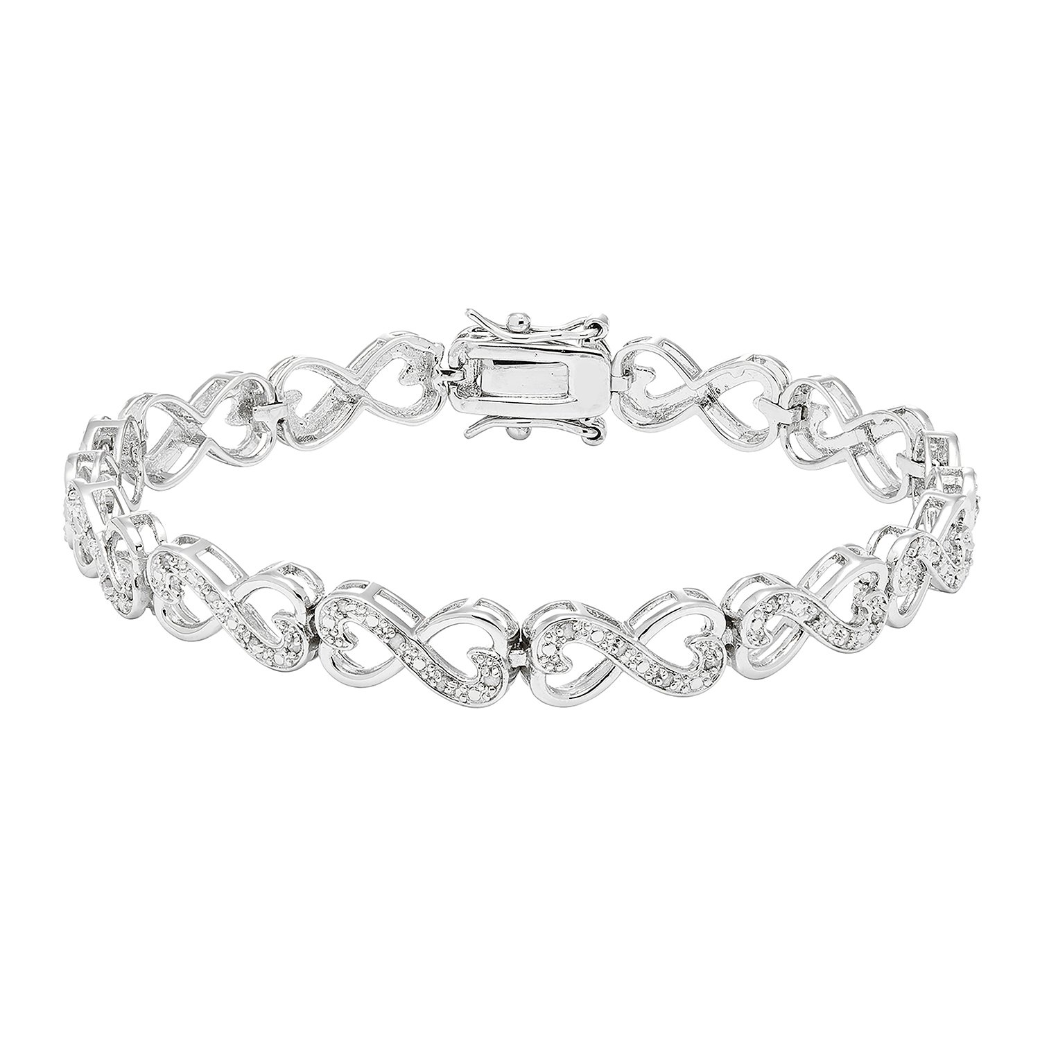 JewelExclusive Sterling Silver 1/4cttw Natural Round-Cut Diamond (J-K Color, I2-I3 Clarity) Infinity Double Heart Bracelet, 7.5''