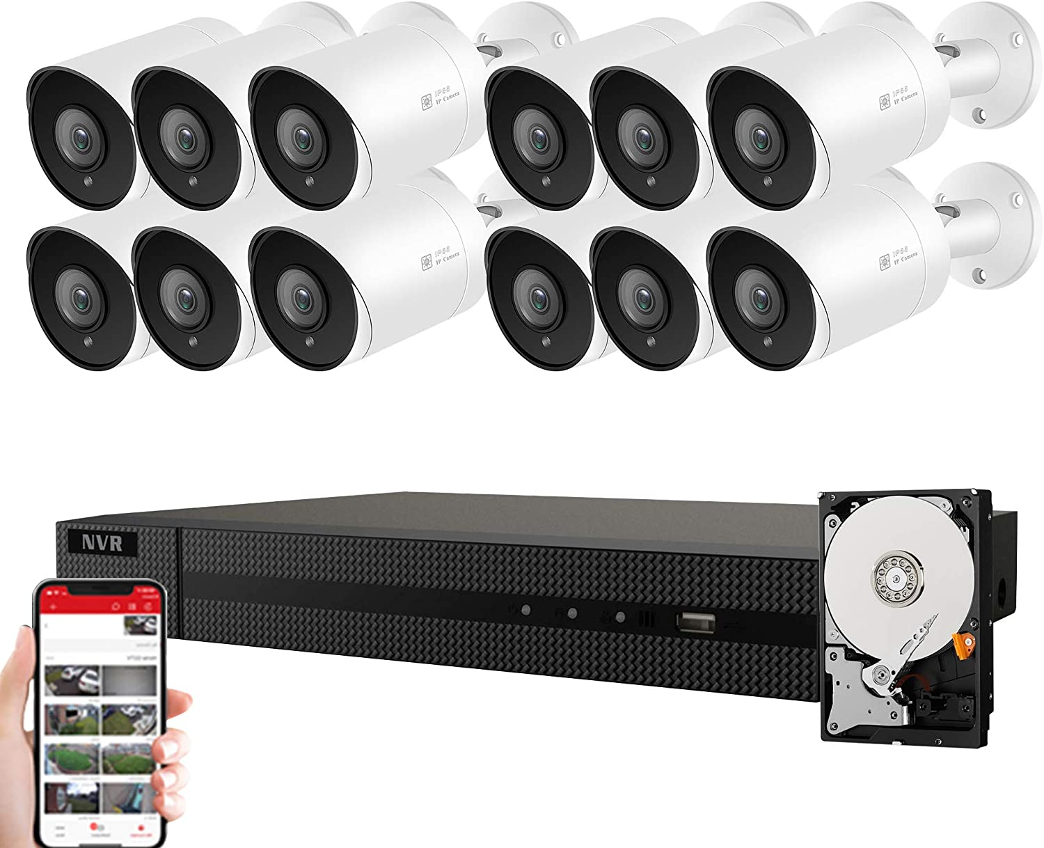 Anpviz 5MP IP POE Security Camera System, 16CH 4K H.265 NVR with 4TB HDD with (12) 5MP Outdoor IP POE Bullet Cameras Home Security System with Audio, 98ft Night Vision, IVMS4200, Hik-Connect