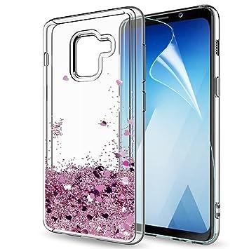 LeYi Compatible con Funda Samsung Galaxy A8 2018 Silicona Purpurina Carcasa con HD Protectores de Pantalla,Transparente Cristal Bumper Telefono Gel ...