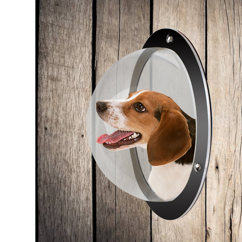 LEMONDA 2Pack Durable Acrylic Dome Pet Dog Fence Peek Window for Cats Dogs Prevent Fence Jumping, Reduce Barking & Digging Including All Necessary Bolts & Nuts by LEMONDA