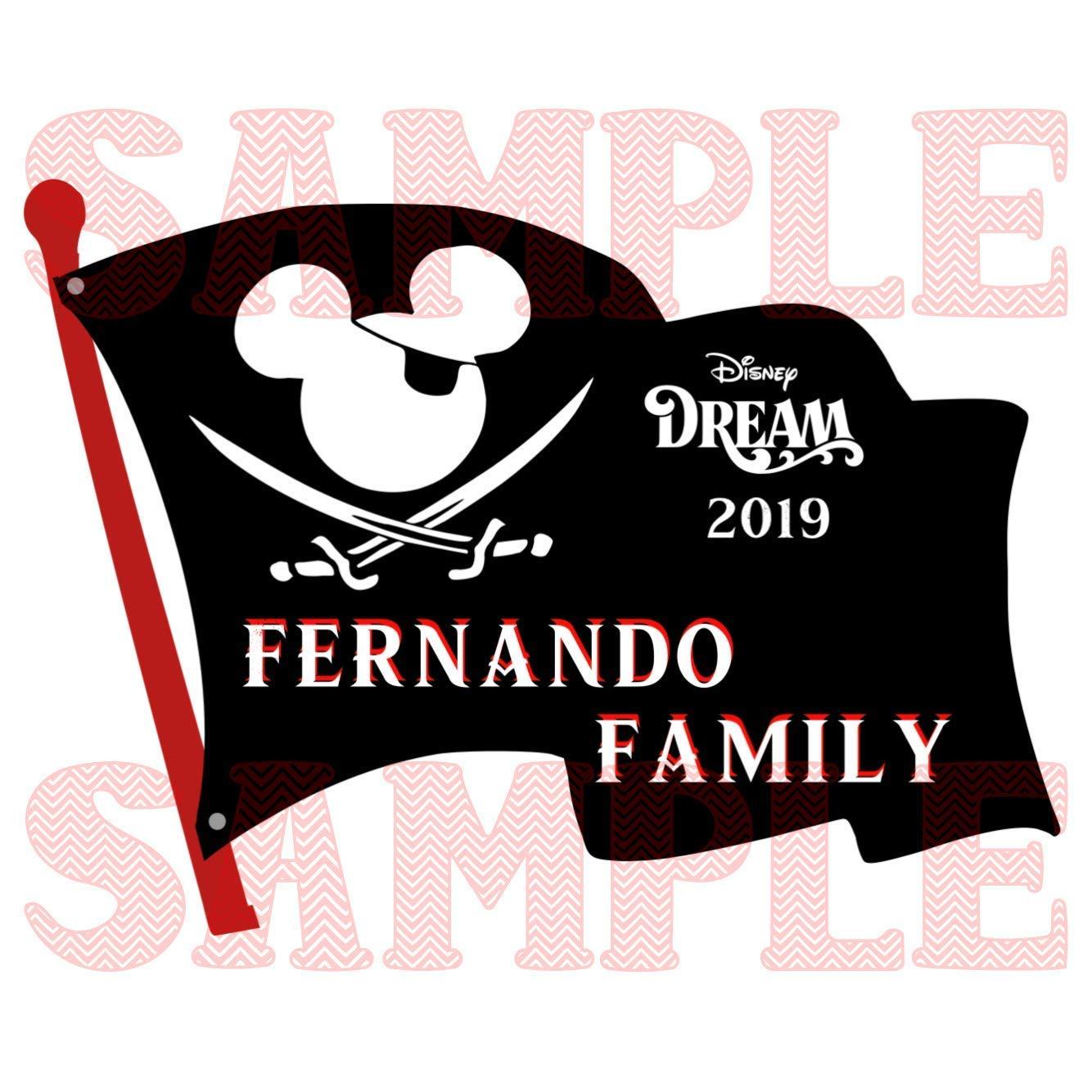 Large Disney Pirate Night Flag Magnets Family Name Disney Cruise Stateroom Magnet.