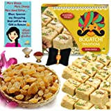 BOGATCHI Complete Rakhi Gift Hamper Sweets and Dry Fruits, Best Gift for Brother, Traditional Soan Papdi(250g) & Natural Raisins (100g) + Free Rakhi Greeting Card + Free Rakhi + Roli Chawal