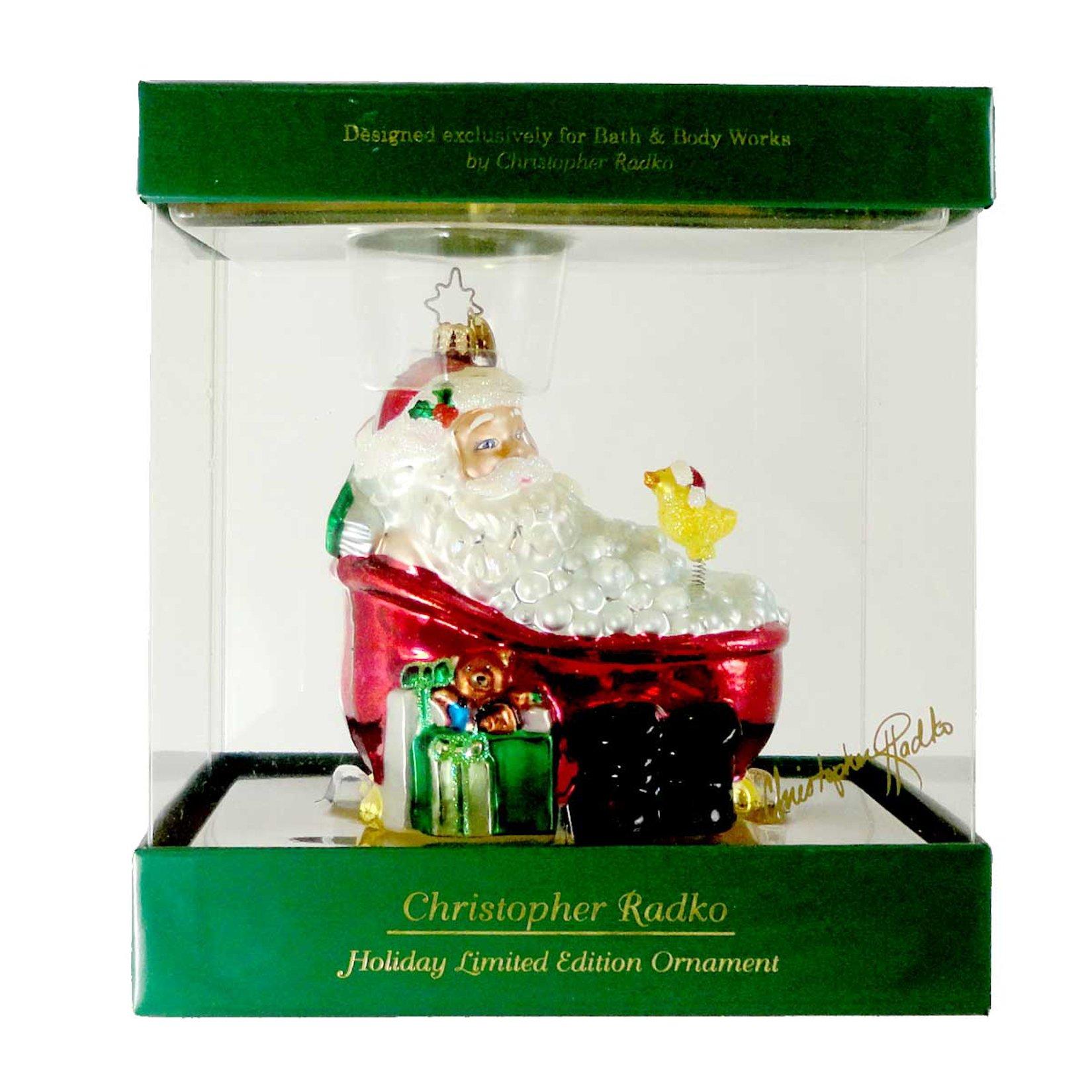 Christopher Radko TWAS THE NIGHT AFTER CHRISTMAS Blown Glass Ornament Christmas Santa Tub