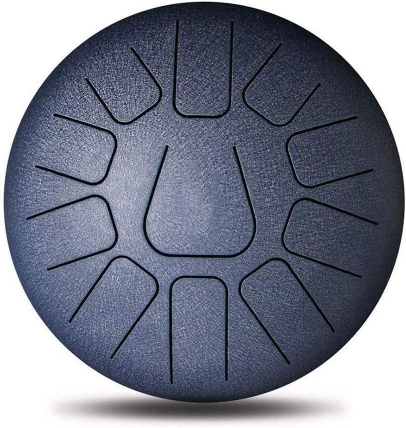 GGRYX スチールタンドラム、10インチ11トーン ハンドドラム、マレットのペアで パッド入りドラムバッグ 蓮のタンバリン、ヨガ、瞑想、屋内スポーツに最適,Navy