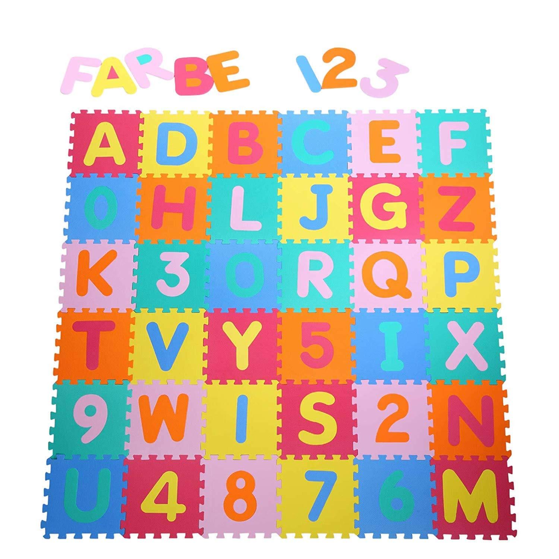 Alfombra puzzle para Niños bebe infantil, esteras de 32x32 cm, 36 piezas Numeros 0 al 9 y 26 Letras en Espuma