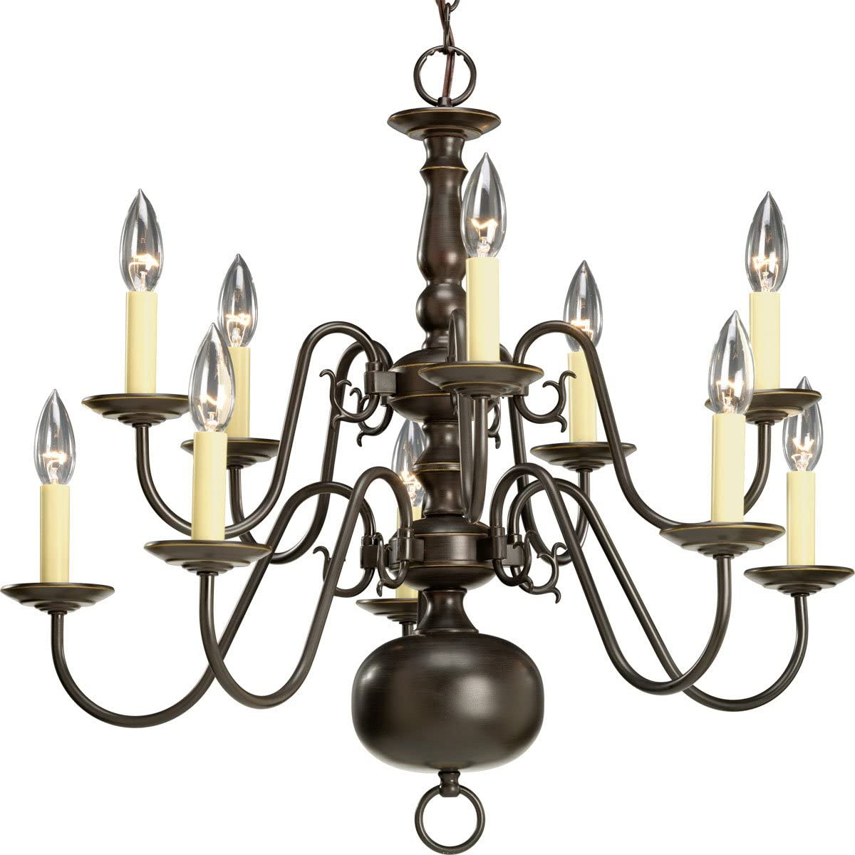 Progress Lighting P4358-20 Chandelier, 26-Inch Diameter x 23-Inch Height, Antique Bronze