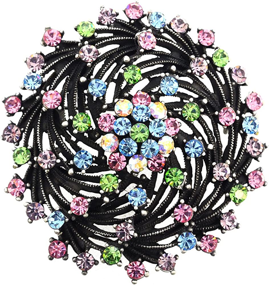 Fantasyard Black Floral Bridal Wedding Swarovski Crystal Pin Brooch Pendant