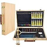 Artina - Boite Mallette pour artiste Leonardo - Ensemble complet de 45 pcs - Peinture acrylique, crayons, pastels