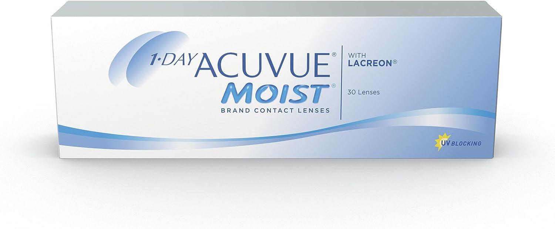1-Day Acuvue Moist - Lentes de contacto esféricas diarias (R 8.5 / D 14.2 / -3 Diop), Pack de 30 uds.