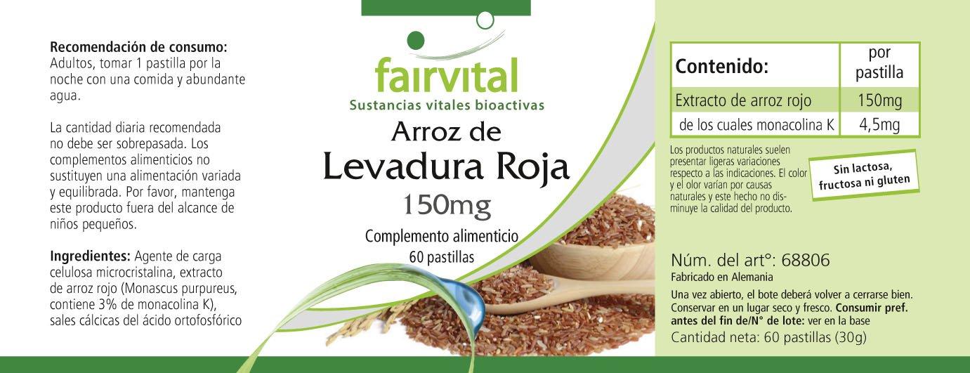 Extracto de arroz rojo 150 mg - para 2 meses - VEGANO - 60 comprimidos - 4,5mg monacolina K: Amazon.es: Salud y cuidado personal