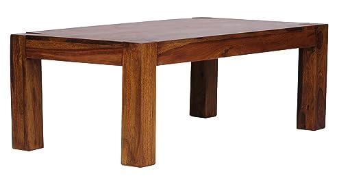 Tisch design holz  Wohnling Couchtisch Massiv-Holz Sheesham 110 cm breit Wohnzimmer ...