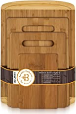 Premium Bamboo Cutting Board Set of 4 - Eco-Friendly Wood Chopping Boards with Juice Groove for Food Prep, Meat, Vegetables, Fruits, Crackers & Cheese - 100% Natural Bamboo Craftsmanship. by: Bambusi