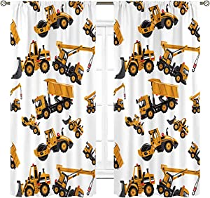 Cinbloo Kids Boys Construction Curtains Tractor Truck Rod Pocket Car Bedroom Decor Toddlers Excavator Cartoon Yellow Children Printed Living Room Window Drapes Treatment 2 Panels 42 (W) x 63(L) Inch