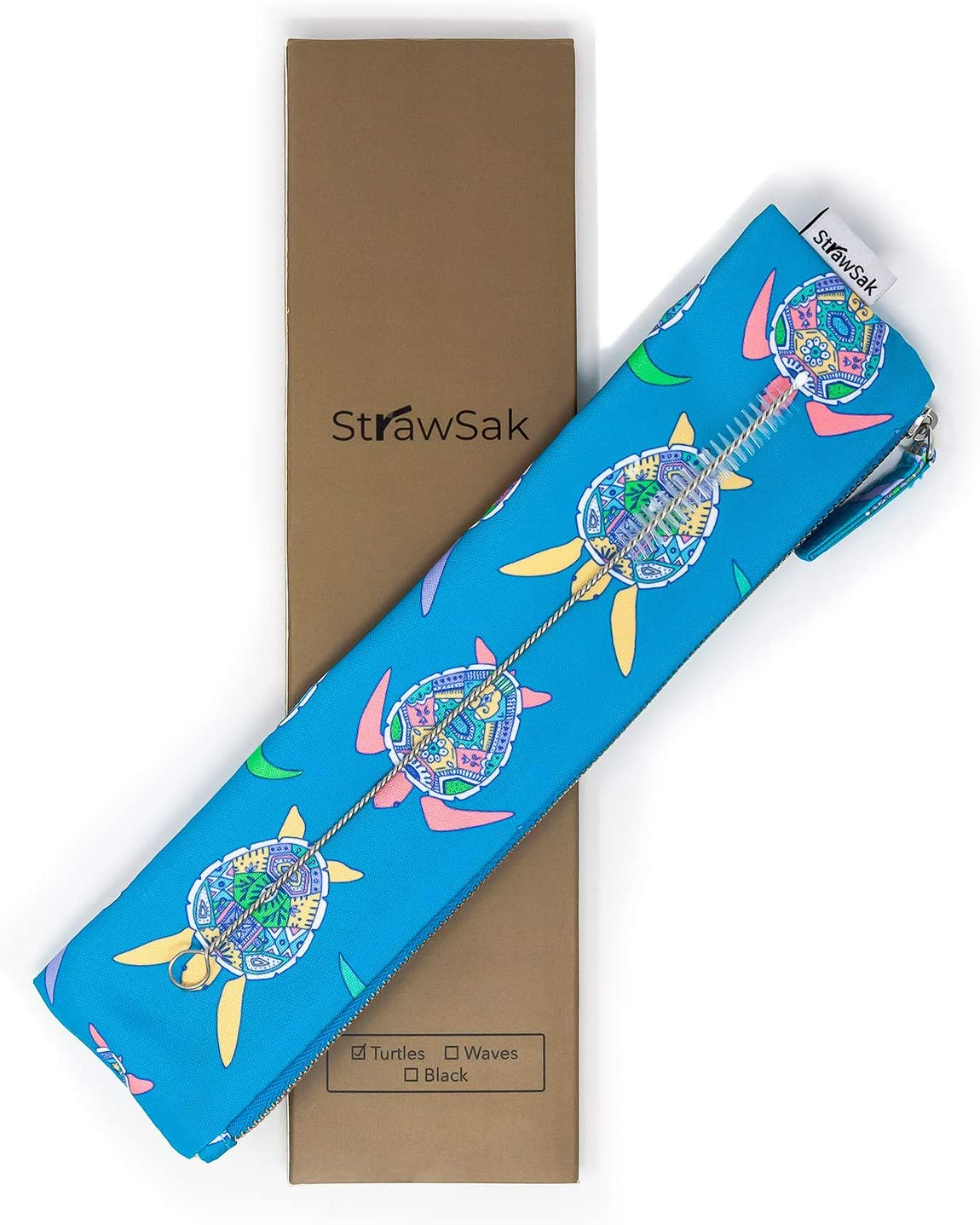Straw Case for Reusable Straws (Metal Straws, Silicone Straws, Glass Straws), Cutlery, Silverware, Utensils - Easy to Clean Reusable Straw Pouch - Teal Turtles - 10.5 inch - by StrawSak