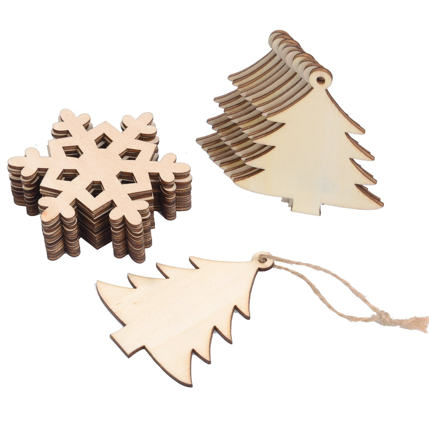 20 Pieces Wooden Christmas Tree and Snowflake Shaped Embellishments Hanging Ornaments Decoration with 20 Pieces Twines Sumind 4336910838
