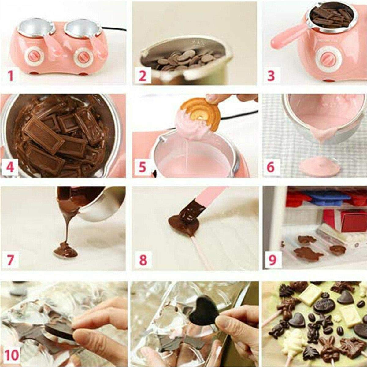 Candy Melting Pot, GIGRIN Electric Chocolate Melting Pot 250ml Chocolate Fondue with 24 Free Accessories, for Chocolate, Candy, Butter, Cheese, Caramel (Pink & Double Pot) by GIGRIN (Image #4)