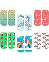 Footalk Women's 3D Cartoon Funny Casual Crazy Cute Amazing Novelty Print Ankle Socks