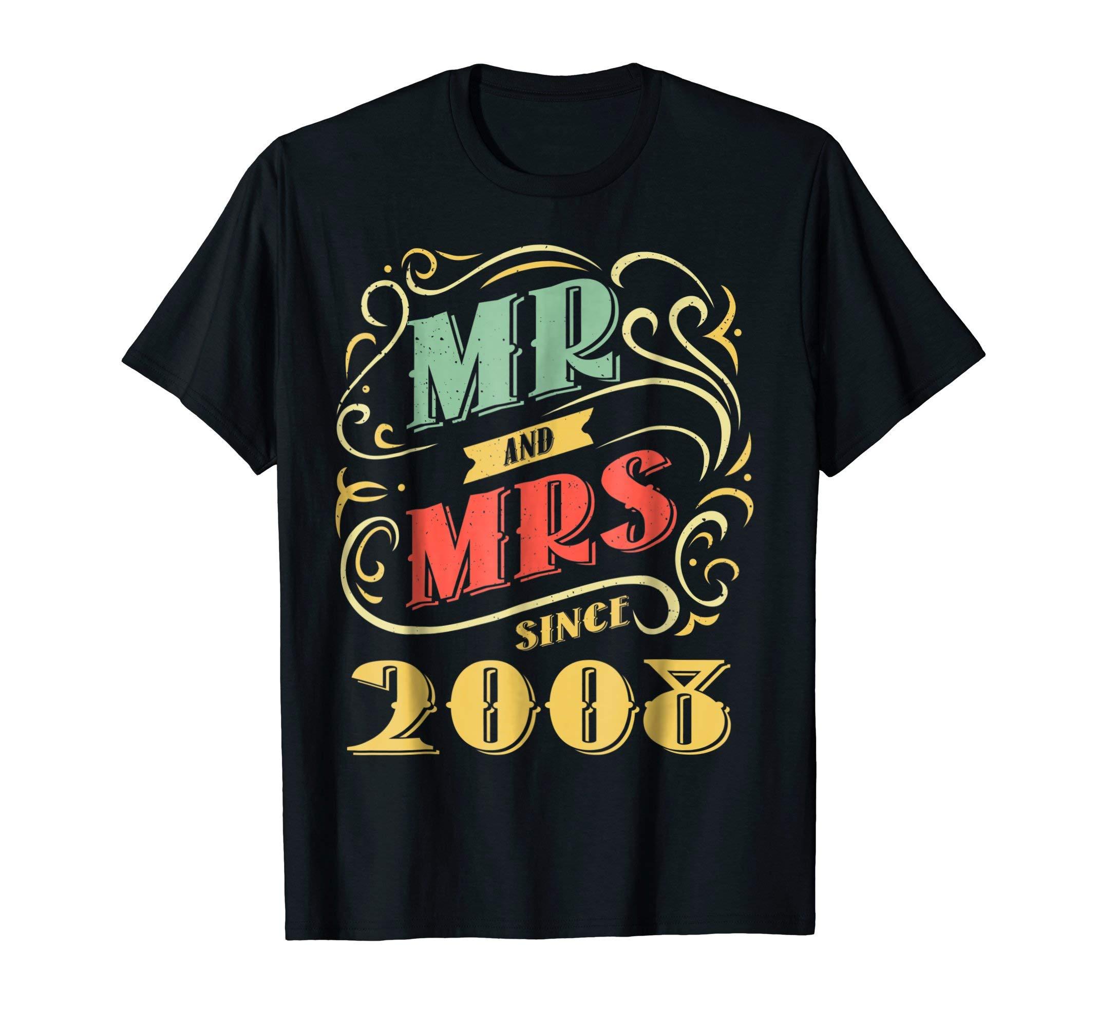 10th Wedding Anniversary TShirt For Husband Wife Since 2008