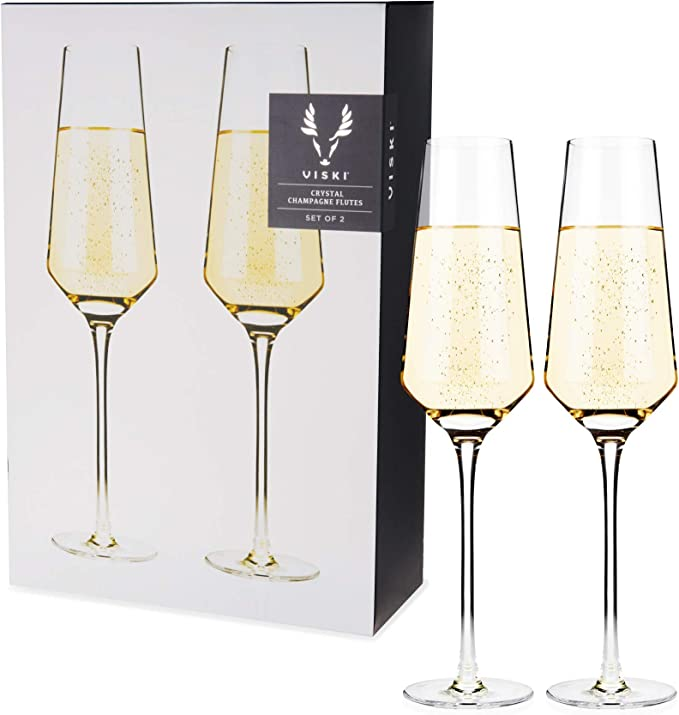 Viski 4530 Raye Crystal Champagne Flutes Set Of 2 By Viski One None Amazon Ca Home Kitchen