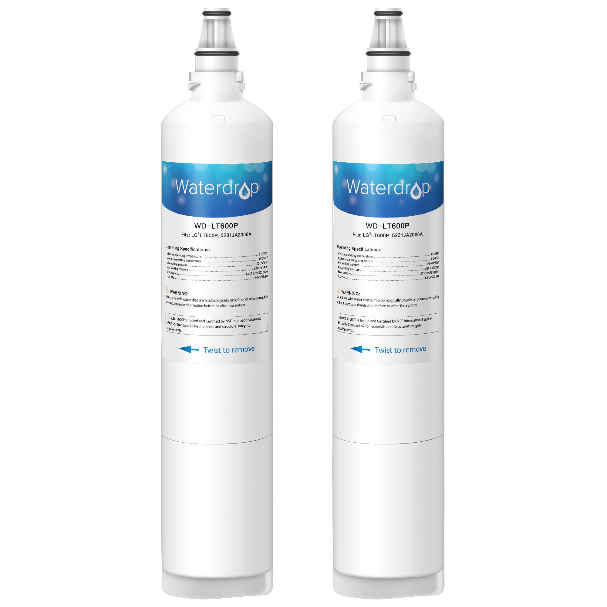 Waterdrop LT600P Replacemnet Refrigerator Water Filter, Compatible with LG LT600P, 5231JA2006A, 5231JA2006B, KENMORE 46-9990, 9990, 469990, Standard, 2 Pack