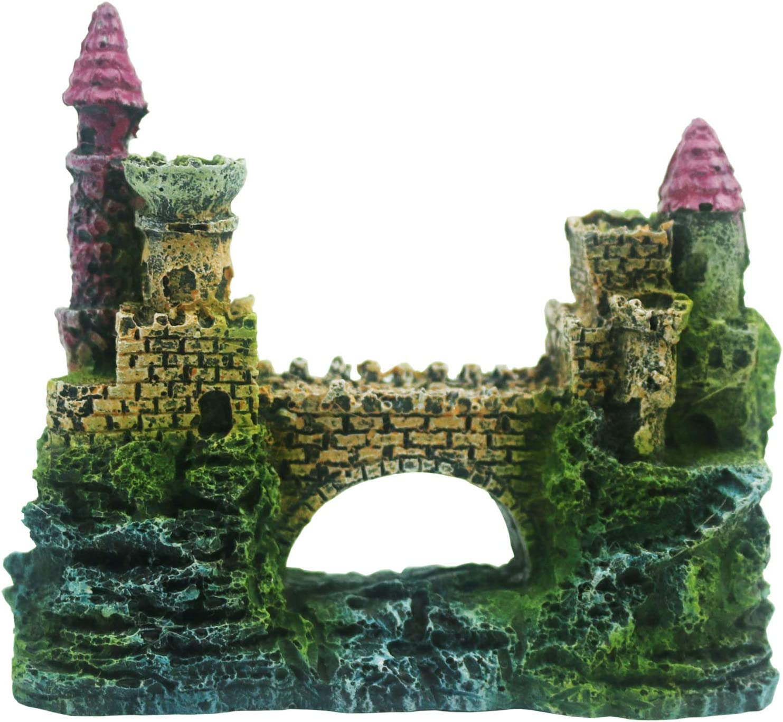 Tinsow Aquarium Resin Castle Decoration for Fish Tank Castle Cave Hideouts Aquarium Supplies Accessories