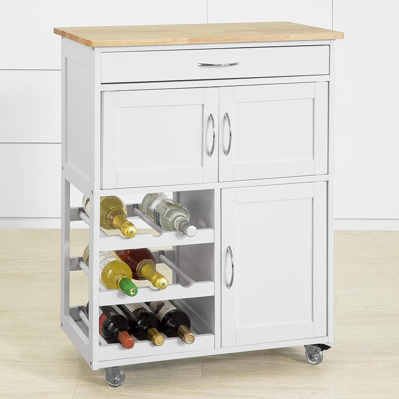 Haotian FKW45-WN, Kitchen Storage Serving Trolley Cart with Rubber Wood Worktop, Kitchen Storage Cabinet