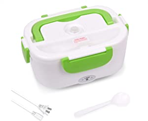 Electric Heating Lunch Box Portable Meal Prep Container 110V Thermal Bento Box with Mini Bento Box Detachable Food Heater Warmer for Home/Office (Spoon Included)