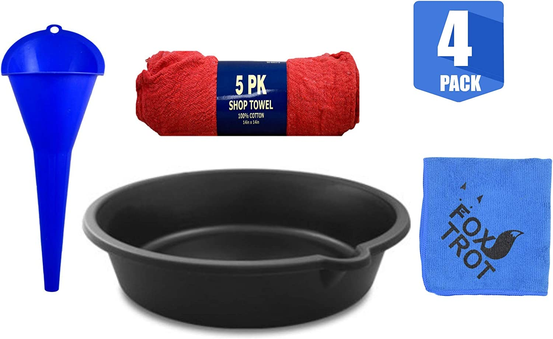 Longneck Oil Funnel Includes Oil Drain Pan Oil Change Value Kit 5 Pack of Shop Towels and 1 Foxtrot Professional Microfiber