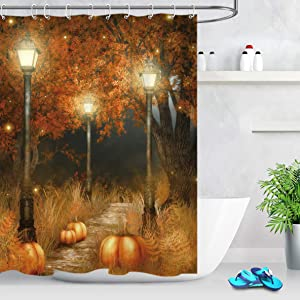 LB Autumn Fall Shower Curtains for Bathroom Brown Fall Tree Glass with Thanksgiving Harvest Pumpkin Bathroom Curtain for Halloween Party Decor 60x72 Inch Waterproof Polyester Fabric with Hooks