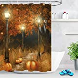 LB Autumn Fall Shower Curtains for Bathroom Brown Fall Tree Glass with Thanksgiving Harvest Pumpkin Bathroom Curtain for…