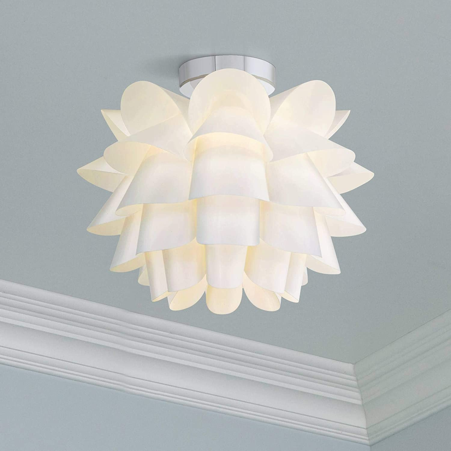 Modern ceiling light flush mount fixture white flower 15 3 4 for bedroom kitchen possini euro design ceiling pendant fixtures amazon com