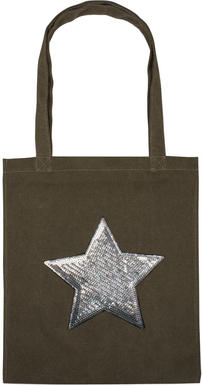 styleBREAKER bolsa para compras con aplicación de estrella con lentejuelas, bolso de hombro, bolsa de tela. bolso, unisex 02012214, color:Azul oscuro