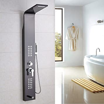 Rozin Ti Black Bathroom Rain Waterfall Shower Panel Set Massage System Tub  Faucet With Jets