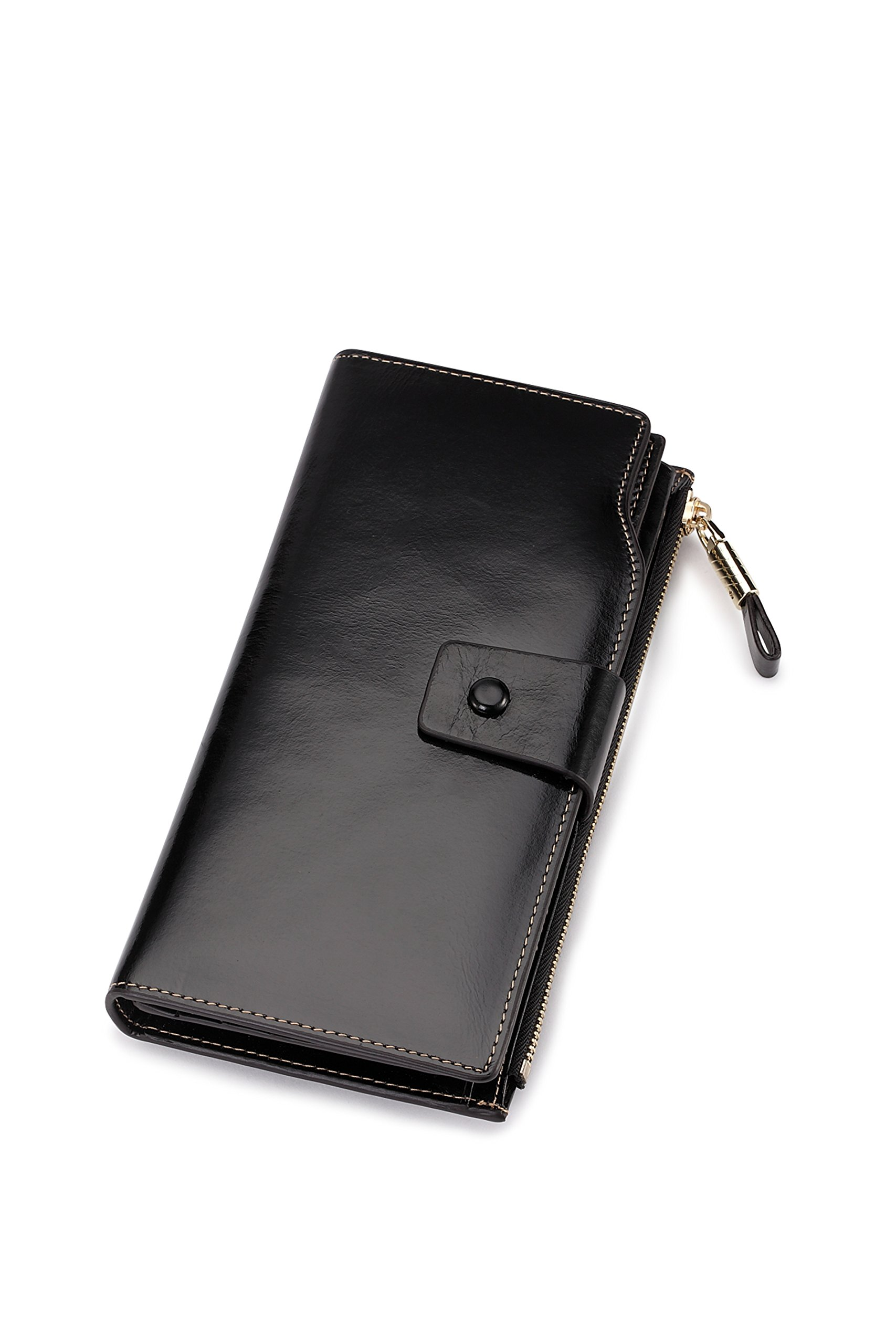 Genuine leather Multifunctional Women Wallet Card ID Holder Coin Purse Oil Wax Wallet Cell Phone Pocket Versatile Style (Black)