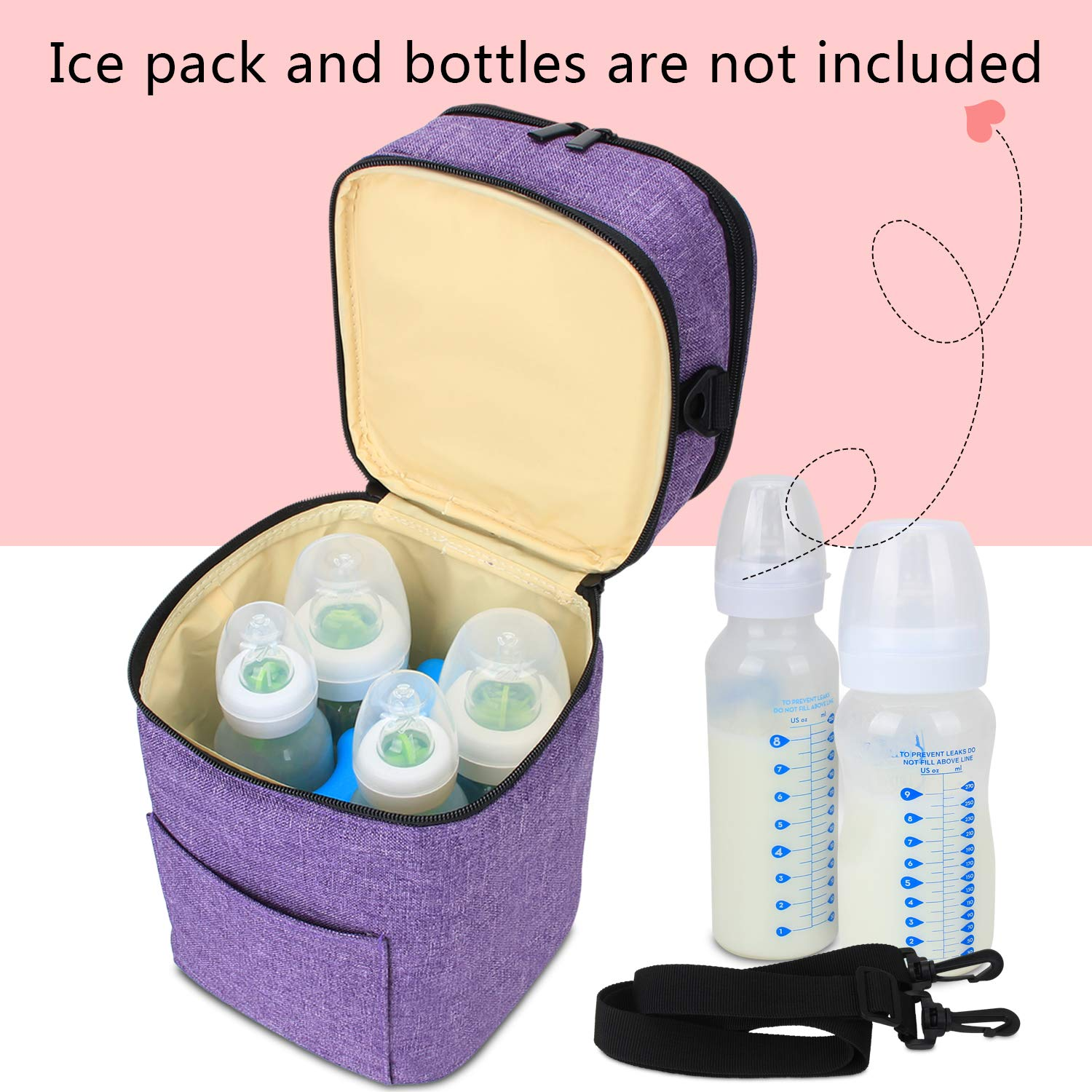 Fits 4 Bottles, Up to 5 Ounce Bag Only Luxja Breastmilk Cooler Bag Gray Double-Layer Cooler Bag for Breast Milk and Bottle Set