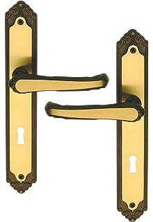 Poignée De Porte Intérieure En Laiton Sur Plaque Clé L Entraxe 195 Mm,  ISABELLA