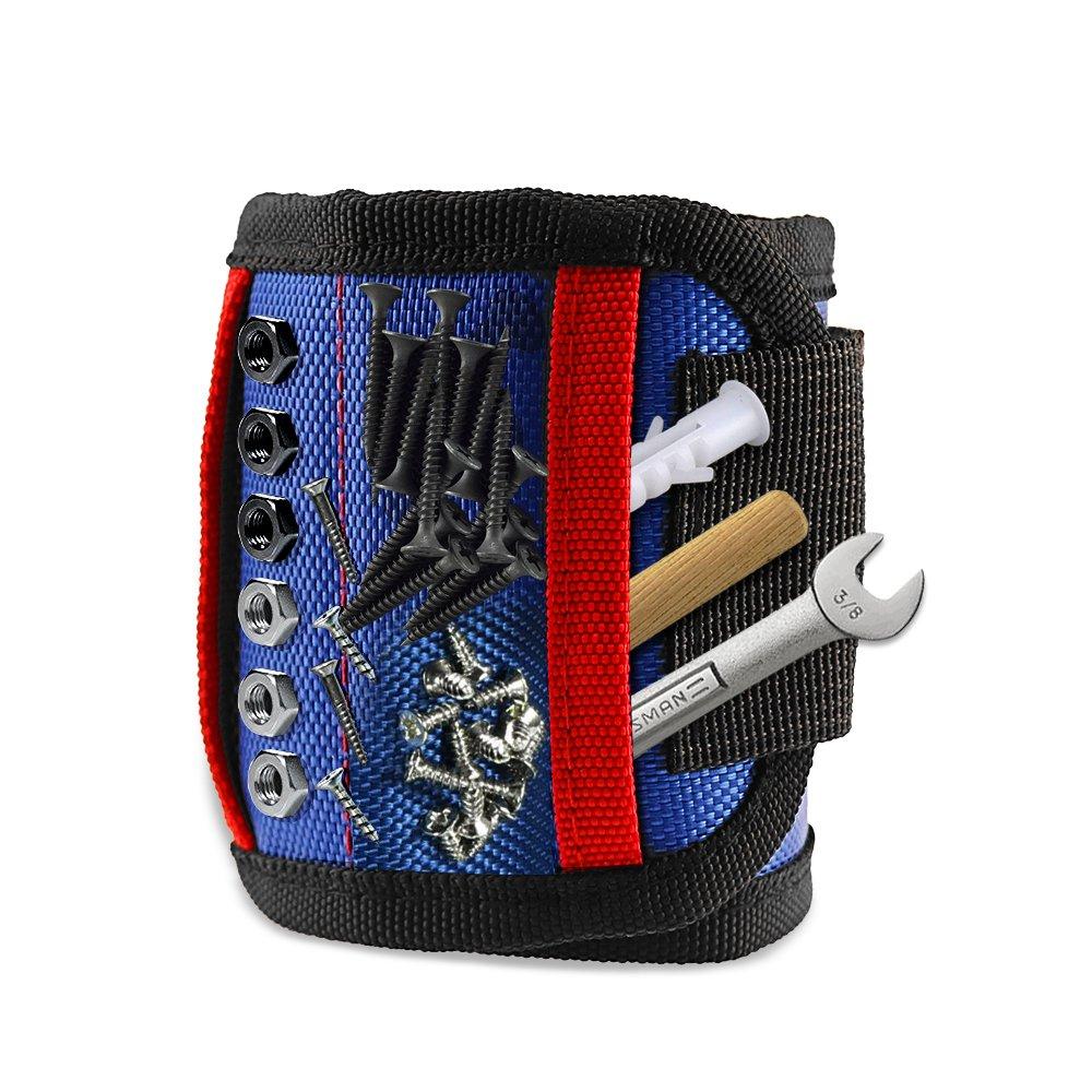 HENZIN Bracelet magné tique avec 15 aimants puissants et 2 poches supplé mentaires pour outils, vis, clous, bois (bleu clair)