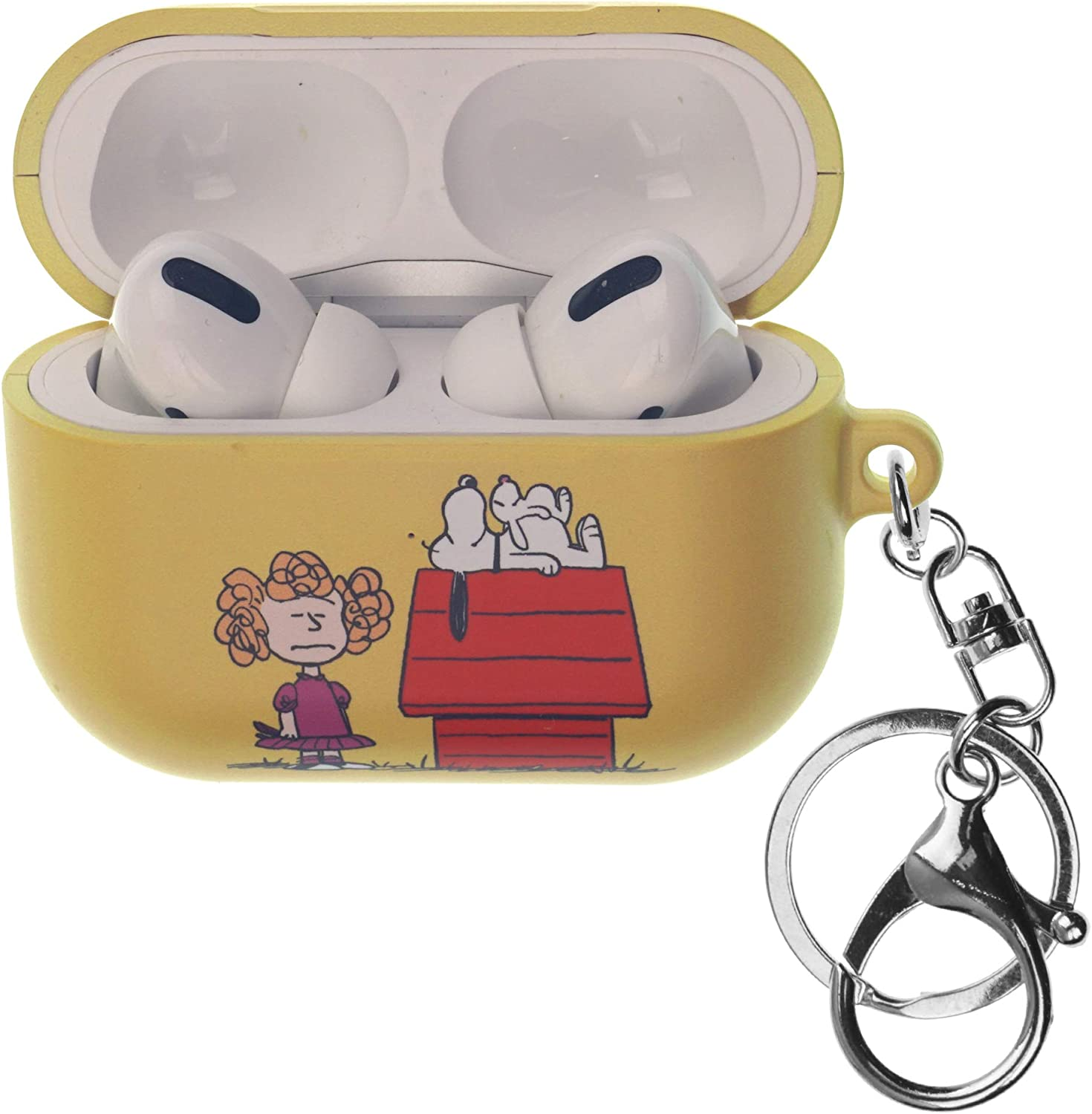 Front LED Visible Peanuts Snoopy AirPods Pro Case with Key Ring Keychain Key Holder Hard PC Shell Strap Hole Cover Happy Snoopy Joe Cool Accessories Compatible with Apple AirPods Pro