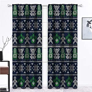 GugeABC Farmhouse Kitchen Curtains Christmas for Kitchen Cafe Decor Penguins Teddy Bears 63 x 63 Inch (2 Panels)