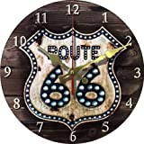 """Grazing 12"""" Cute Cartoon Vintage Owl Design Arabic Numerals Rustic Country Tuscan Style Wooden Decorative Round Wall Clock (Bling 66)"""