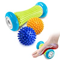 Pasnity Foot Massage Roller Spiky Ball Foot Pain Relief Massager Relieve Plantar Fasciitis and Heel Foot Arch Pain and Relax Shoulder Foot Back Leg Hand, Included 1 Roller & 2 Spiky Balls