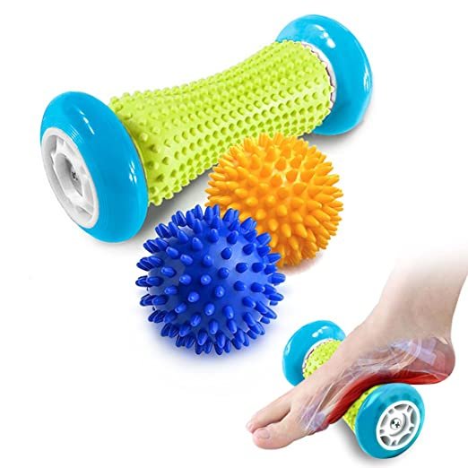 Pasnity Foot Massage Roller Spiky Ball Foot Pain Relief Massager Relieve Plantar Fasciitis and Heel Foot Arch Pain and Relax Shoulder Foot Back Leg Hand, Included 1 Roller & 2 Spiky Balls (Light Blue) best plantar fasciitis remedies