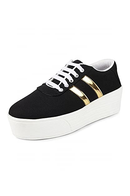 5a1056ecdff1 Bella Toes Women Designer Shoes - Casual Shoes- Black Colour Fabric Heel  Sneakers for Girls and Women  Buy Online at Low Prices in India - Amazon.in