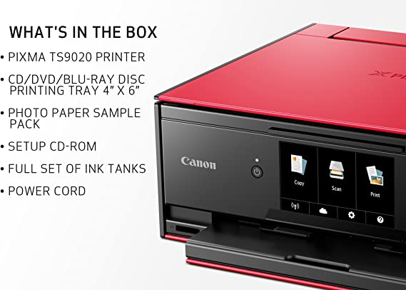 Canon TS9020 Wireless All-In-One Printer with Scanner and Copier: Mobile and Tablet Printing, with AirPrint and Google Cloud Print Compatible, Red