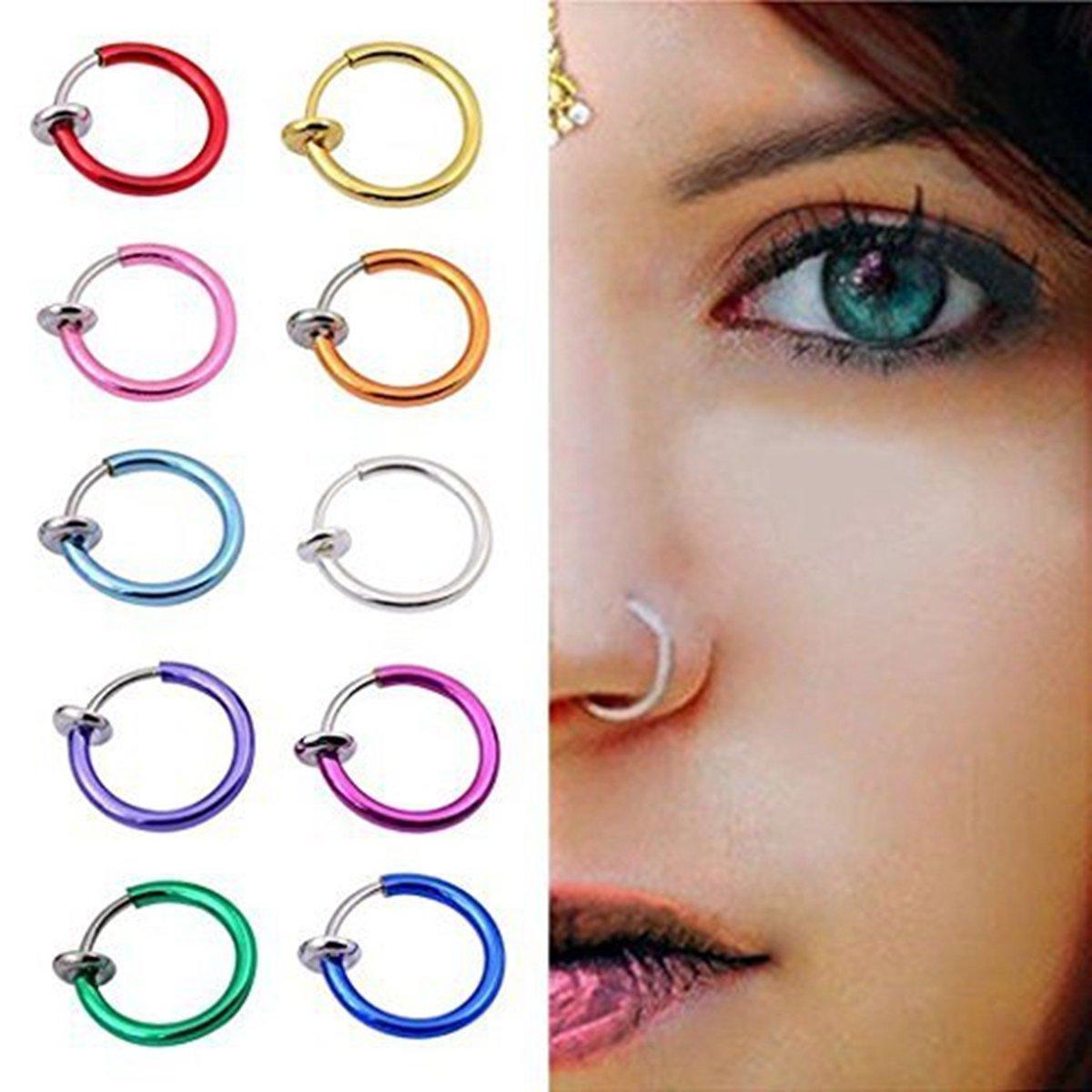 Color Random Teanfa 12 pcs Punk Clip on Fake Nose Lip Hoop Rings Earrings Body Piercing