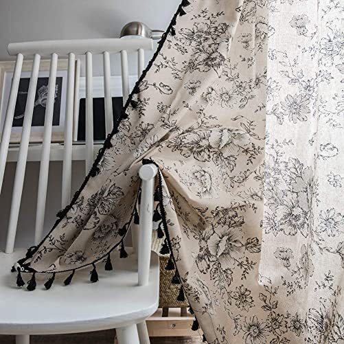 ColorBird Botanical Print Semi-Blackout Window Curtains Farmhouse Style Cotton Linen Darkening Curtain Panel with Tassel Rod Pocket Window Drapes for Living Room Bedroom 52 W x 84 L, Floral