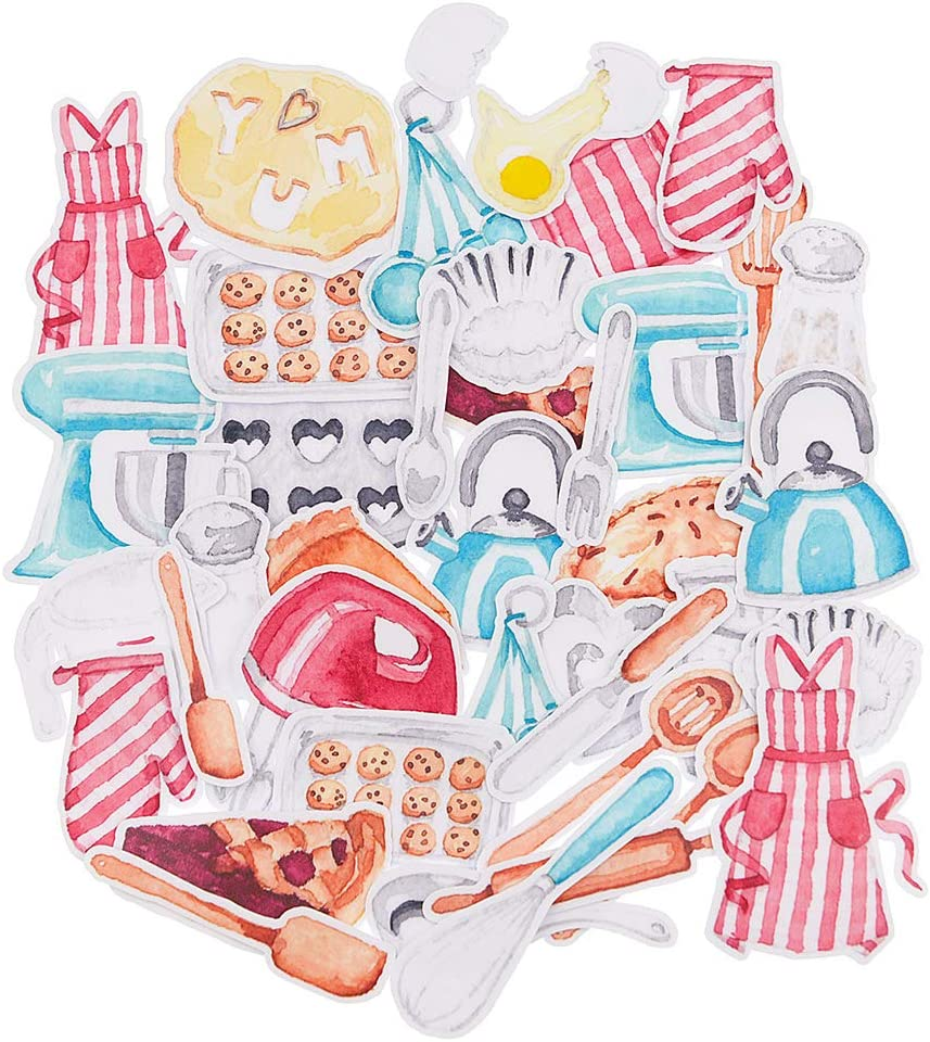 Yummy Bun Kitchen Stickers for Laptop, Women, Water Bottles, Girls, Scrapbook,Baking Stickers for Kids, Cooking Scrapbook Stickers Decals for Kids, Journal, Planner- 25pcs