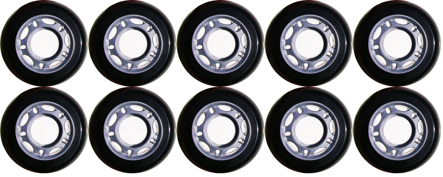 Choice Inline Wheels, Black/Silver, 76 mm x 8