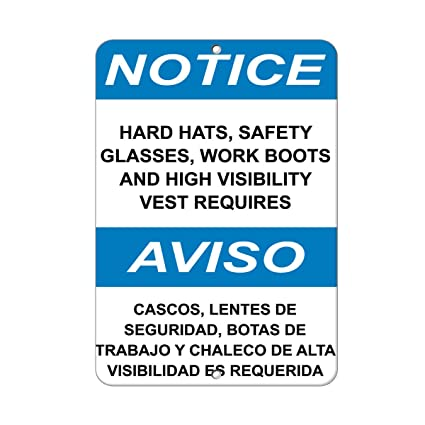 Hats Safety Glasses Work Boots High Visibility Vest Required Aluminum METAL Sign 9 in x 12